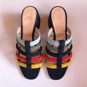 J. Crew Strappy Penny Slide Sandals in Multicolor